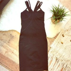 Wow Couture Strappy Body Con Black Party Dress